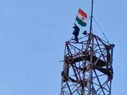 Man Climbs Mobile Tower